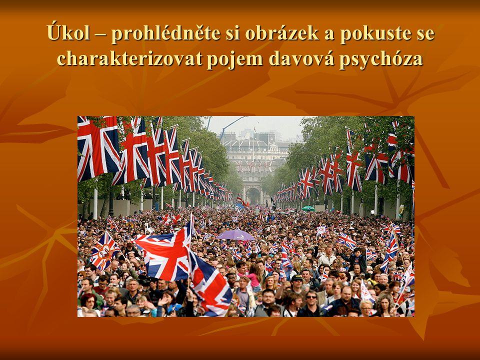 Úkol – prohlédněte si obrázek a pokuste se charakterizovat pojem davová psychóza