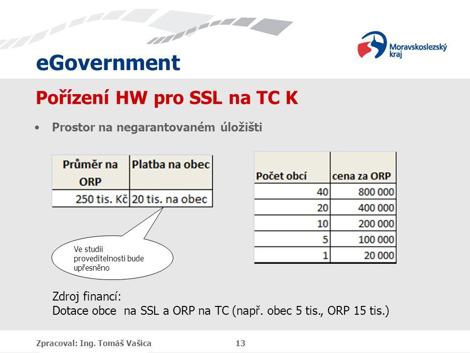 eGovernment Pořízení HW pro SSL na TC K Prostor na negarantovaném úložišti Zpracoval: Ing. Tomáš Vašica 13 Zdroj financí: Dotace obce na SSL a ORP na