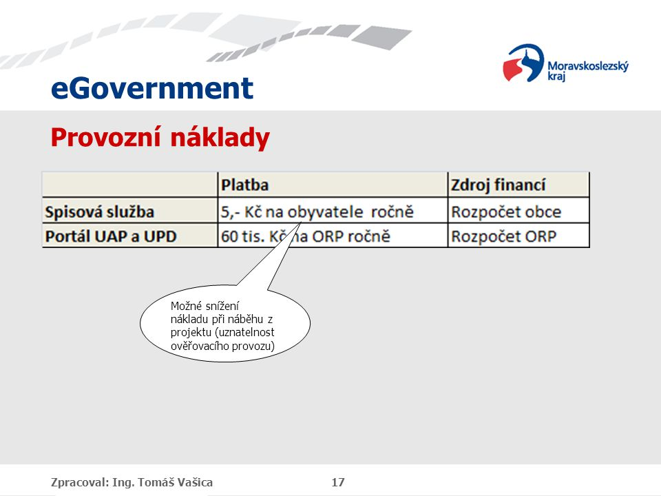 eGovernment Provozní náklady Zpracoval: Ing. Tomáš Vašica 17 Možné snížení nákladu při náběhu z projektu (uznatelnost ověřovacího provozu)