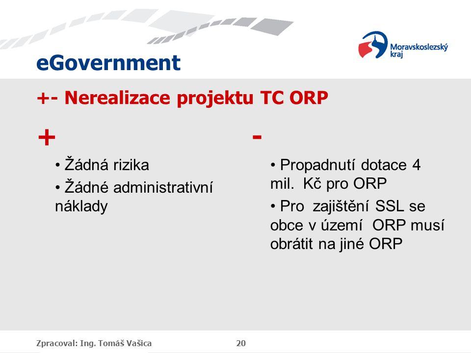 eGovernment +- Nerealizace projektu TC ORP + Žádná rizika Žádné administrativní náklady - Propadnutí dotace 4 mil. Kč pro ORP Pro zajištění SSL se obc