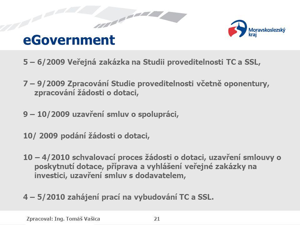 eGovernment 5 – 6/2009 Veřejná zakázka na Studii proveditelnosti TC a SSL, 7 – 9/2009 Zpracování Studie proveditelnosti včetně oponentury, zpracování žádosti o dotaci, 9 – 10/2009 uzavření smluv o spolupráci, 10/ 2009 podání žádosti o dotaci, 10 – 4/2010 schvalovací proces žádosti o dotaci, uzavření smlouvy o poskytnutí dotace, příprava a vyhlášení veřejné zakázky na investici, uzavření smluv s dodavatelem, 4 – 5/2010 zahájení prací na vybudování TC a SSL.