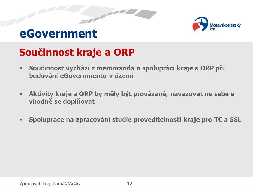 eGovernment Součinnost kraje a ORP Součinnost vychází z memoranda o spolupráci kraje s ORP při budování eGovernmentu v území Aktivity kraje a ORP by m