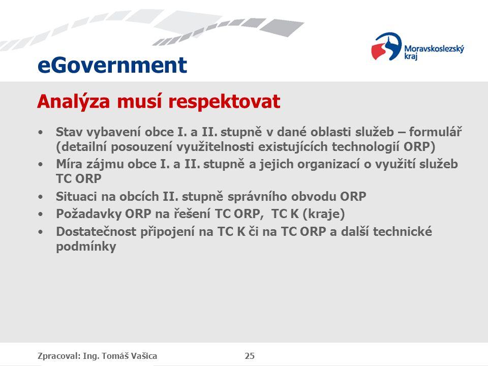 eGovernment Analýza musí respektovat Stav vybavení obce I. a II. stupně v dané oblasti služeb – formulář (detailní posouzení využitelnosti existujícíc