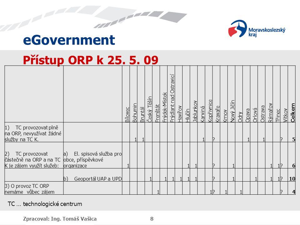 eGovernment Zpracoval: Ing. Tomáš Vašica 8 Přístup ORP k 25.