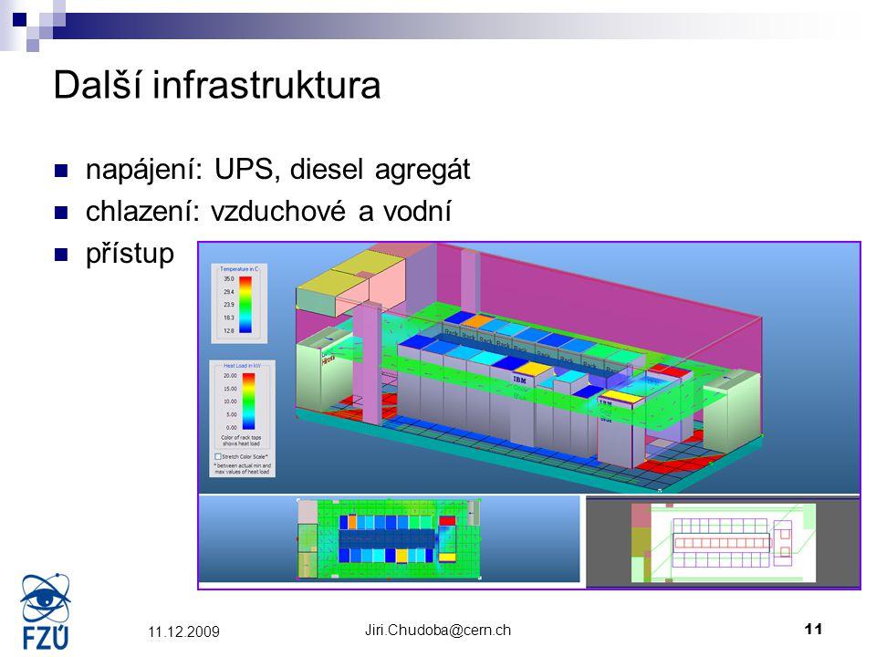 Jiri.Chudoba@cern.ch11 11.12.2009 Další infrastruktura napájení: UPS, diesel agregát chlazení: vzduchové a vodní přístup