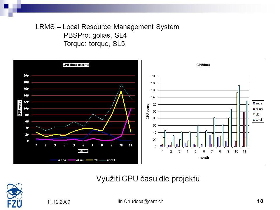 Jiri.Chudoba@cern.ch18 11.12.2009 Využití CPU času dle projektu LRMS – Local Resource Management System PBSPro: golias, SL4 Torque: torque, SL5
