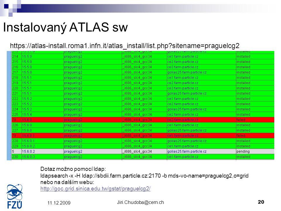 Jiri.Chudoba@cern.ch20 11.12.2009 Instalovaný ATLAS sw https://atlas-install.roma1.infn.it/atlas_install/list.php?sitename=praguelcg2 Dotaz možno pomo