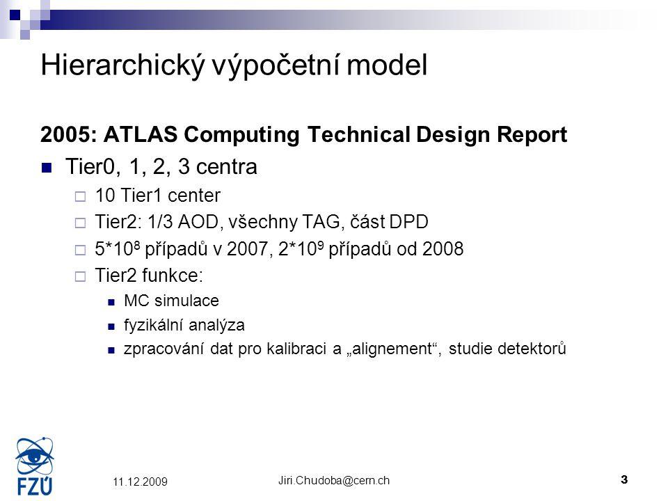 Jiri.Chudoba@cern.ch3 11.12.2009 Hierarchický výpočetní model 2005: ATLAS Computing Technical Design Report Tier0, 1, 2, 3 centra  10 Tier1 center 