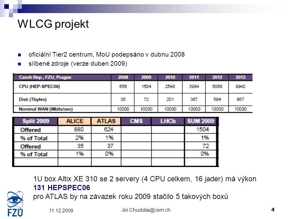 Jiri.Chudoba@cern.ch4 11.12.2009 WLCG projekt oficiální Tier2 centrum, MoU podepsáno v dubnu 2008 slíbené zdroje (verze duben 2009) 1U box Altix XE 31