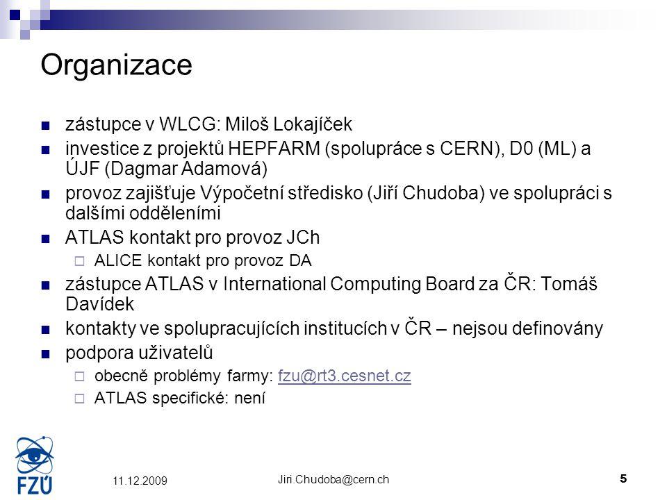 Jiri.Chudoba@cern.ch5 11.12.2009 Organizace zástupce v WLCG: Miloš Lokajíček investice z projektů HEPFARM (spolupráce s CERN), D0 (ML) a ÚJF (Dagmar A