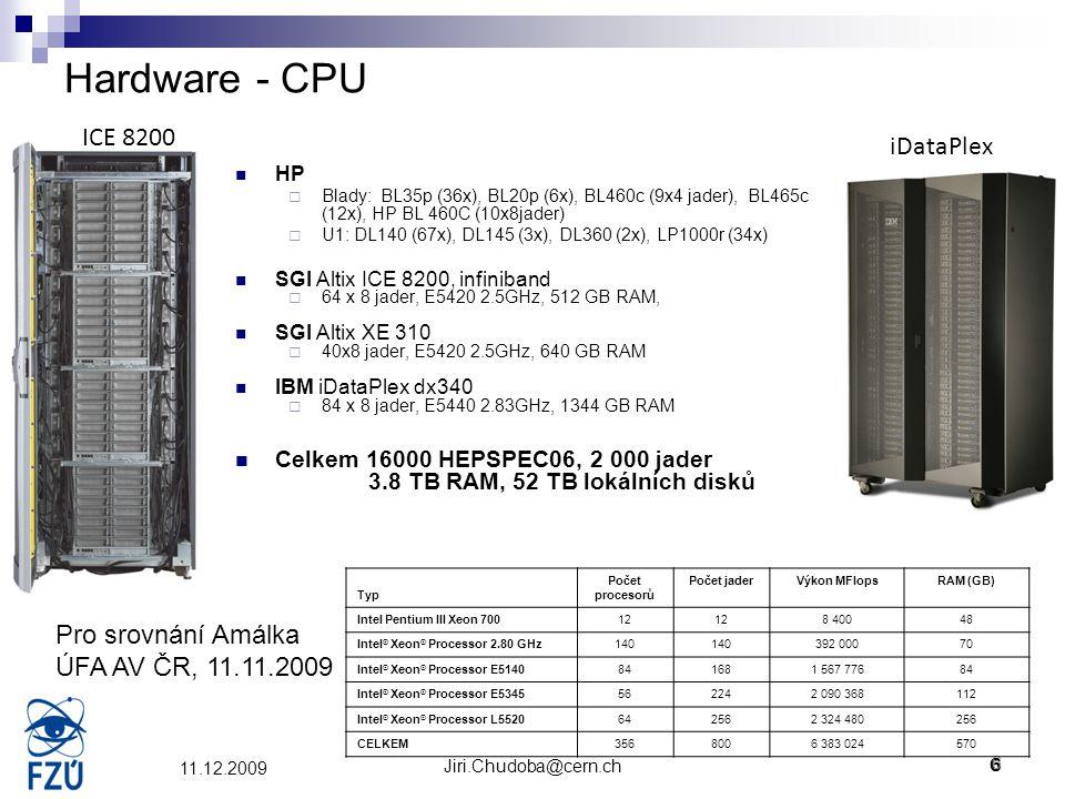 Jiri.Chudoba@cern.ch6 11.12.2009 Hardware - CPU HP  Blady: BL35p (36x), BL20p (6x), BL460c (9x4 jader), BL465c (12x), HP BL 460C (10x8jader)  U1: DL