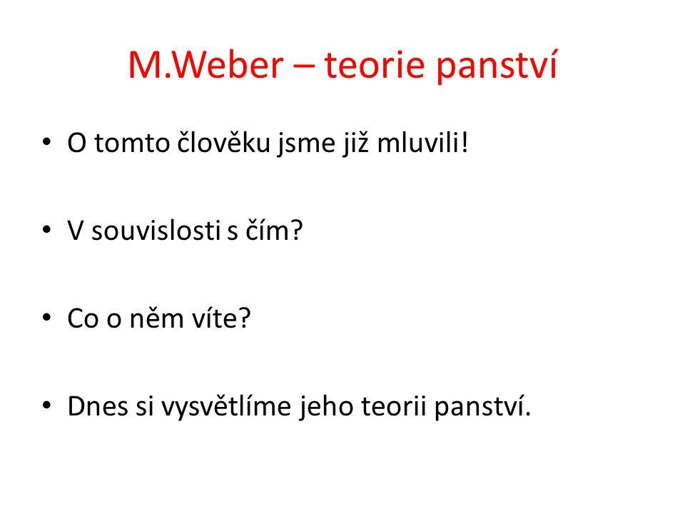 M.Weber – teorie panství O tomto člověku jsme již mluvili.