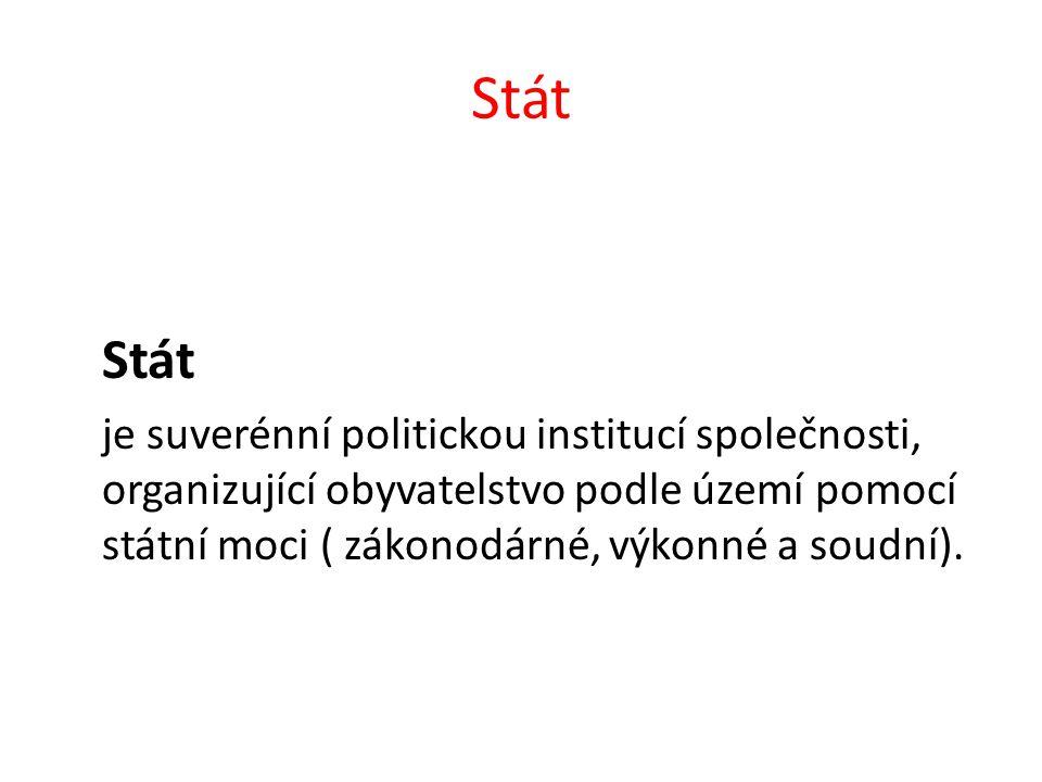 Stát je suverénní politickou institucí společnosti, organizující obyvatelstvo podle území pomocí státní moci ( zákonodárné, výkonné a soudní).
