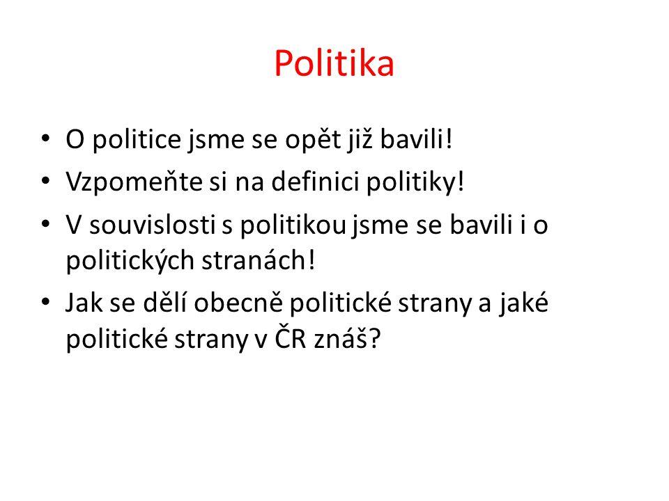 Politika O politice jsme se opět již bavili. Vzpomeňte si na definici politiky.