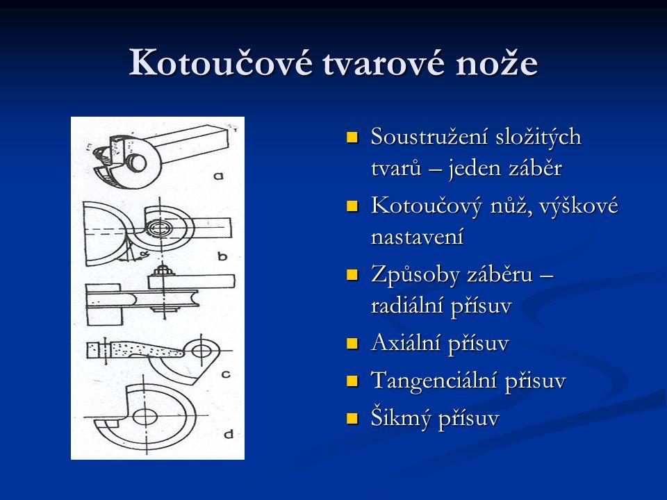 Kotoučové tvarové nože Soustružení složitých tvarů – jeden záběr Soustružení složitých tvarů – jeden záběr Kotoučový nůž, výškové nastavení Kotoučový nůž, výškové nastavení Způsoby záběru – radiální přísuv Způsoby záběru – radiální přísuv Axiální přísuv Axiální přísuv Tangenciální přisuv Tangenciální přisuv Šikmý přísuv Šikmý přísuv