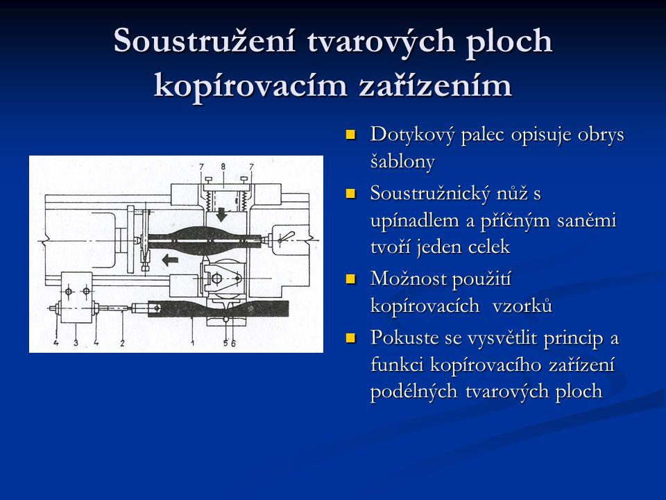 Soustružení tvarových ploch kopírovacím zařízením Dotykový palec opisuje obrys šablony Dotykový palec opisuje obrys šablony Soustružnický nůž s upínad
