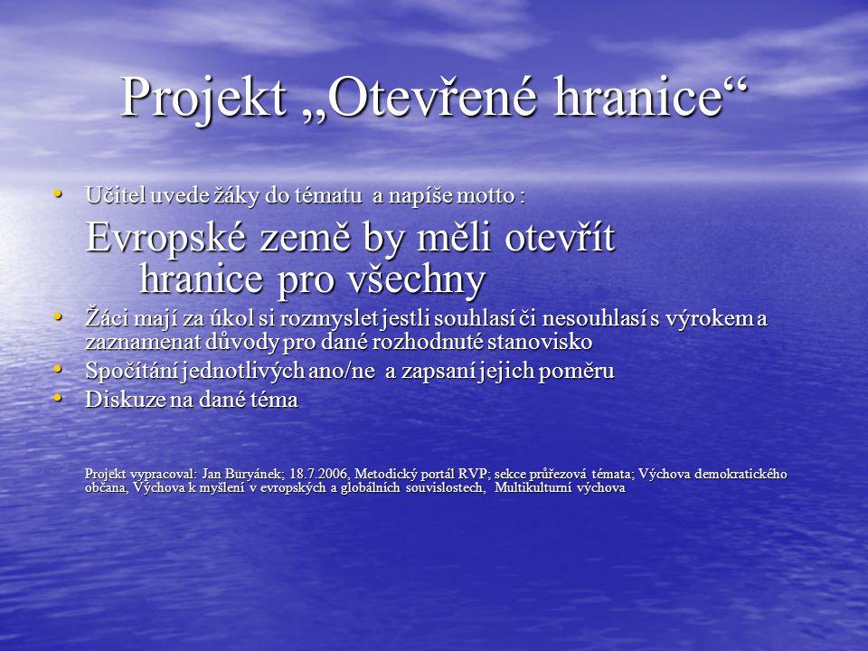 """Projekt """"Otevřené hranice"""" Učitel uvede žáky do tématu a napíše motto : Učitel uvede žáky do tématu a napíše motto : Evropské země by měli otevřít hra"""