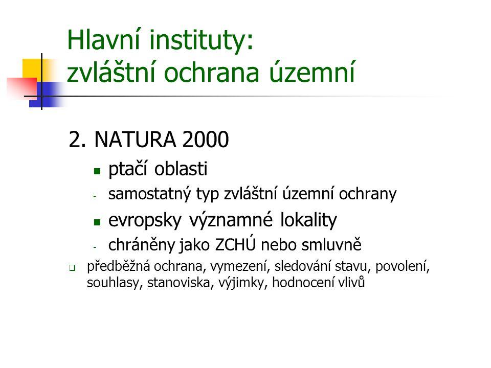 Hlavní instituty: zvláštní ochrana územní 2. NATURA 2000 ptačí oblasti - samostatný typ zvláštní územní ochrany evropsky významné lokality - chráněny