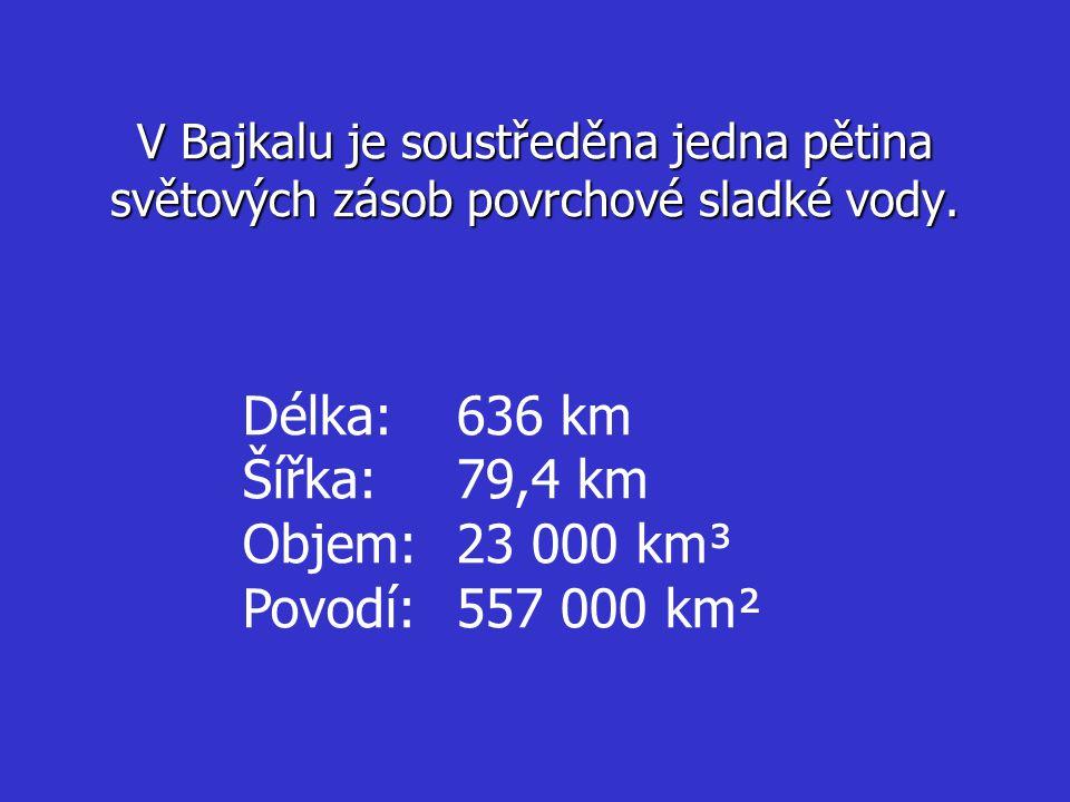 V Bajkalu je soustředěna jedna pětina světových zásob povrchové sladké vody. Délka:636 km Šířka:79,4 km Objem:23 000 km³ Povodí:557 000 km²