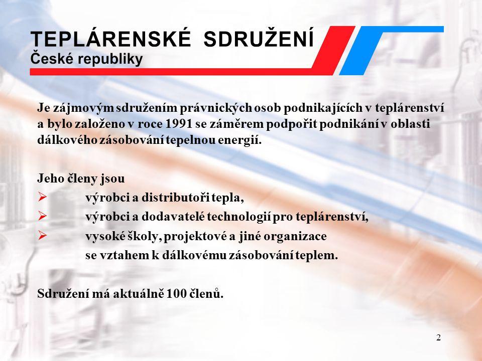 3 Teplárenství v ČR  roční spotřeba tepla v ČR činí cca 380 PJ  ze zdrojů CZT je dodáváno cca 210 PJ  z ostatních zdrojů pak cca 170 PJ  dálkově je teplem zásobováno 1,6 mil.