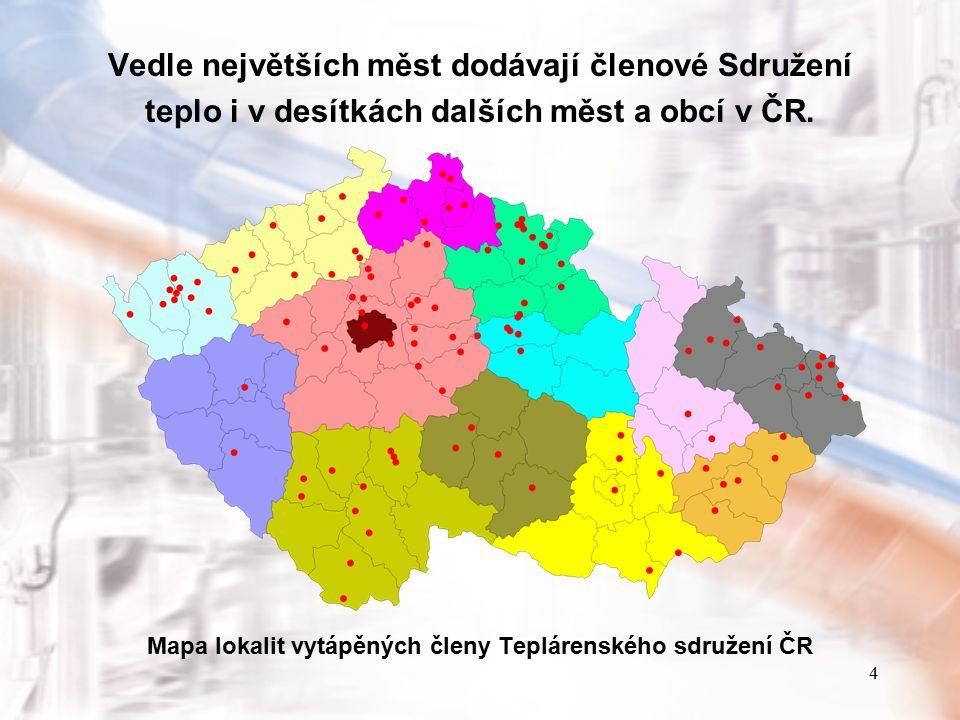 4 Vedle největších měst dodávají členové Sdružení teplo i v desítkách dalších měst a obcí v ČR. Mapa lokalit vytápěných členy Teplárenského sdružení Č
