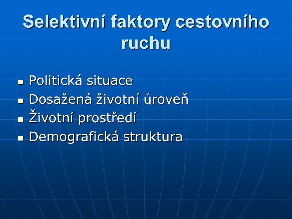 Selektivní faktory cestovního ruchu Politická situace Politická situace Dosažená životní úroveň Dosažená životní úroveň Životní prostředí Životní prostředí Demografická struktura Demografická struktura