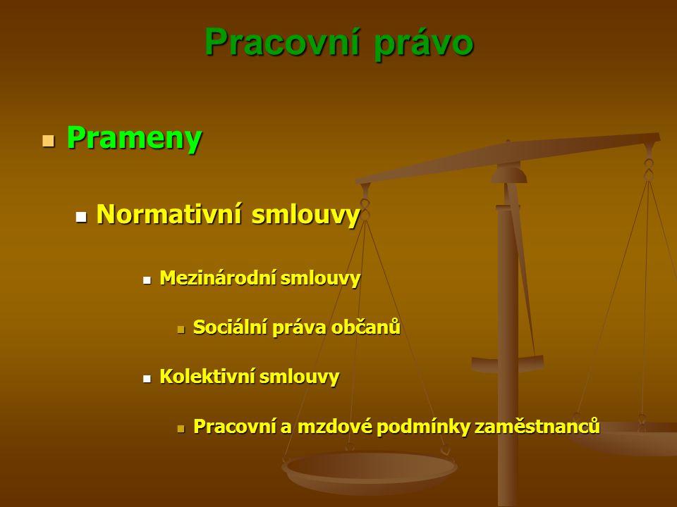 Pracovní právo Prameny Prameny Normativní smlouvy Normativní smlouvy Mezinárodní smlouvy Mezinárodní smlouvy Sociální práva občanů Sociální práva obča