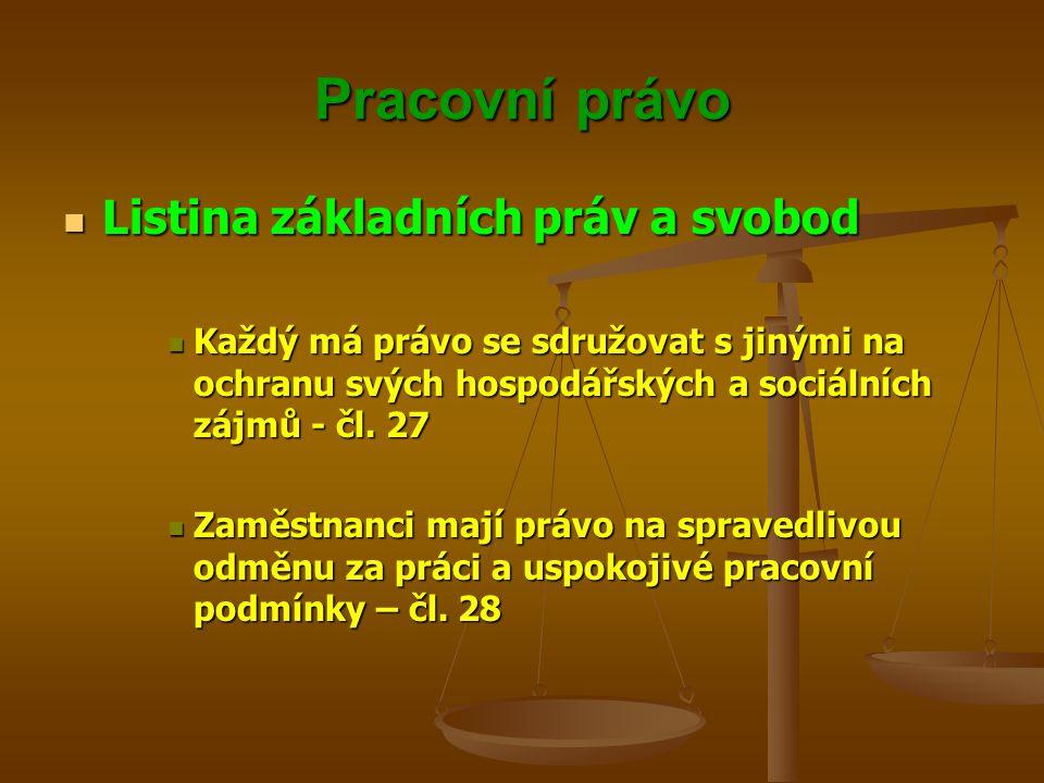 Pracovní právo Listina základních práv a svobod Listina základních práv a svobod Každý má právo se sdružovat s jinými na ochranu svých hospodářských a