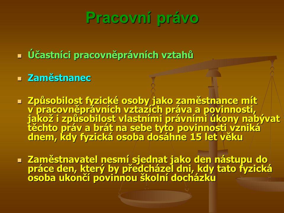 Pracovní právo Účastníci pracovněprávních vztahů Účastníci pracovněprávních vztahů Zaměstnanec Zaměstnanec Způsobilost fyzické osoby jako zaměstnance