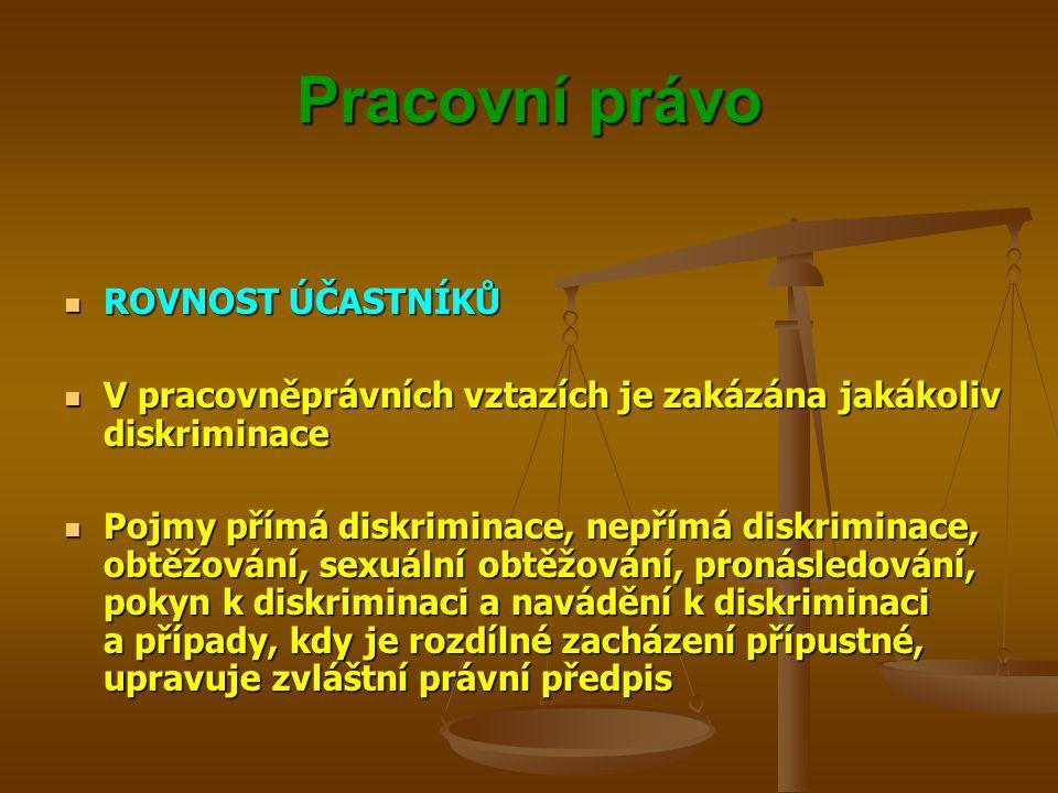 Pracovní právo ROVNOST ÚČASTNÍKŮ ROVNOST ÚČASTNÍKŮ V pracovněprávních vztazích je zakázána jakákoliv diskriminace V pracovněprávních vztazích je zakáz