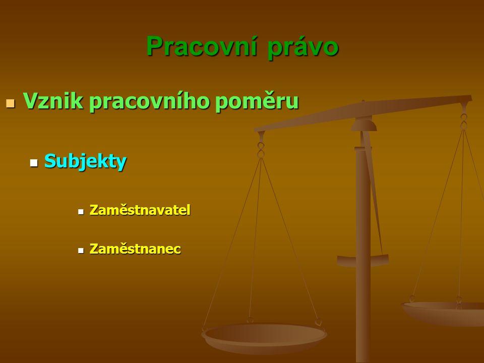 Pracovní právo Vznik pracovního poměru Vznik pracovního poměru Subjekty Subjekty Zaměstnavatel Zaměstnavatel Zaměstnanec Zaměstnanec