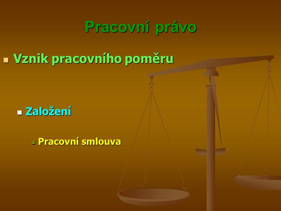 Pracovní právo Vznik pracovního poměru Vznik pracovního poměru Založení Založení Pracovní smlouva Pracovní smlouva