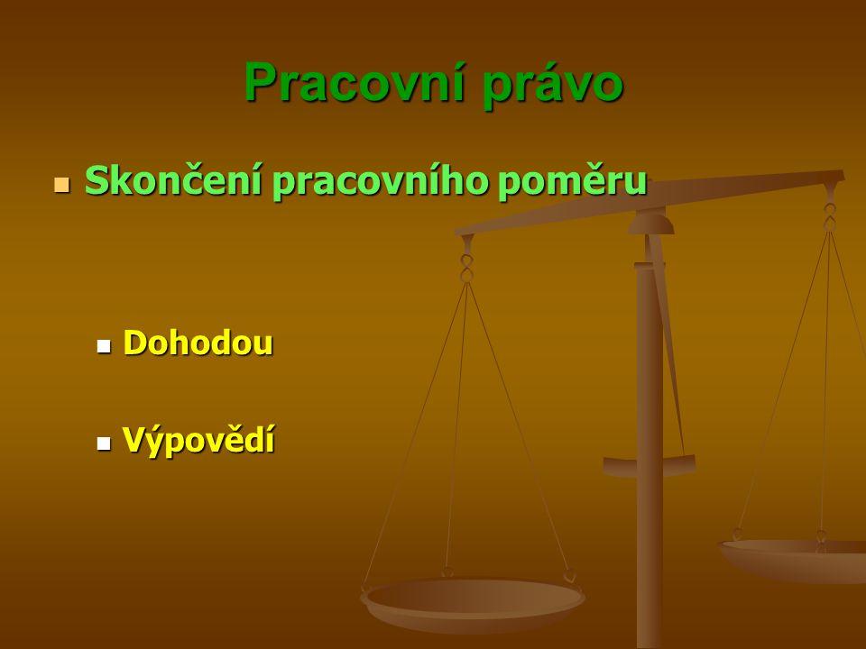 Pracovní právo Skončení pracovního poměru Skončení pracovního poměru Dohodou Dohodou Výpovědí Výpovědí