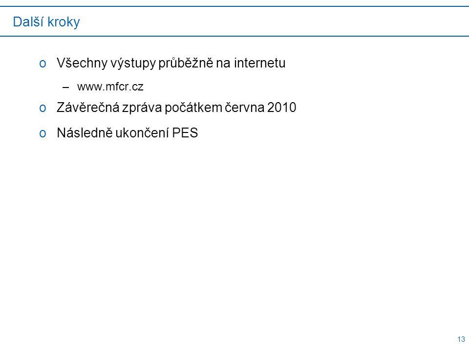 13 Další kroky oVšechny výstupy průběžně na internetu –www.mfcr.cz oZávěrečná zpráva počátkem června 2010 oNásledně ukončení PES