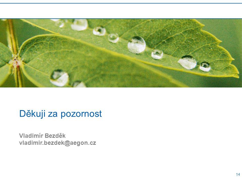 14 Děkuji za pozornost Vladimír Bezděk vladimir.bezdek@aegon.cz