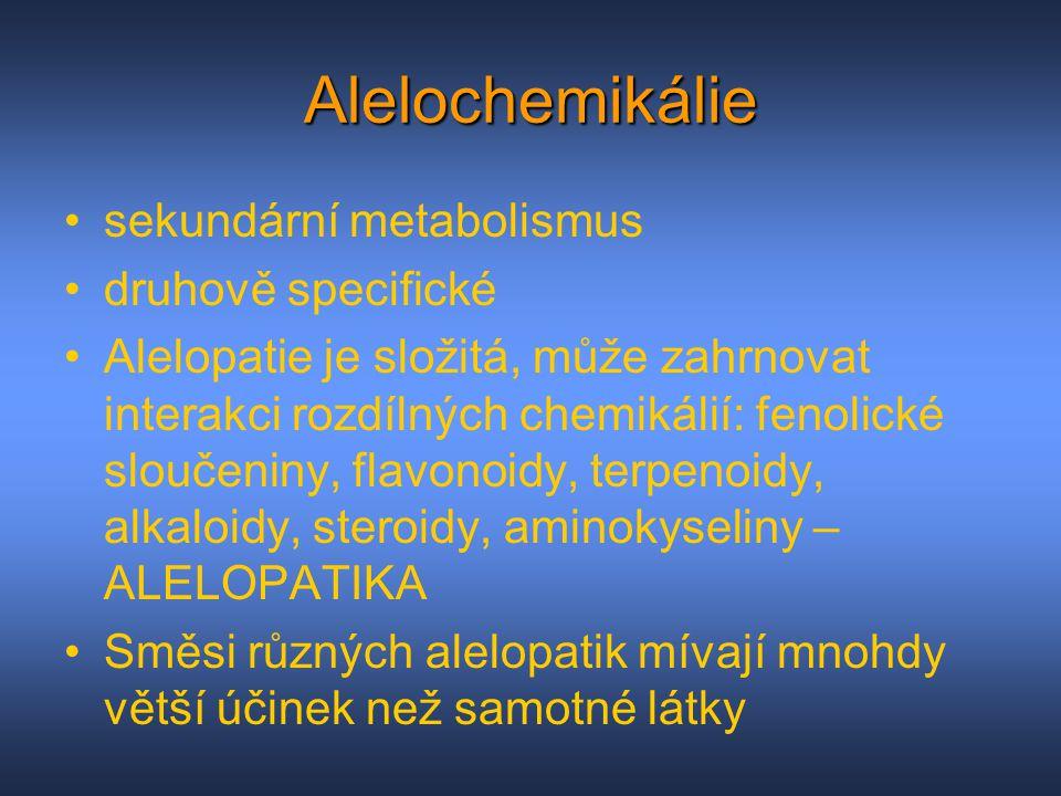 Alelochemikálie sekundární metabolismus druhově specifické Alelopatie je složitá, může zahrnovat interakci rozdílných chemikálií: fenolické sloučeniny