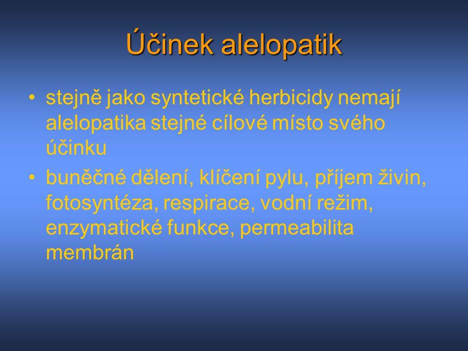 Účinek alelopatik stejně jako syntetické herbicidy nemají alelopatika stejné cílové místo svého účinku buněčné dělení, klíčení pylu, příjem živin, fot