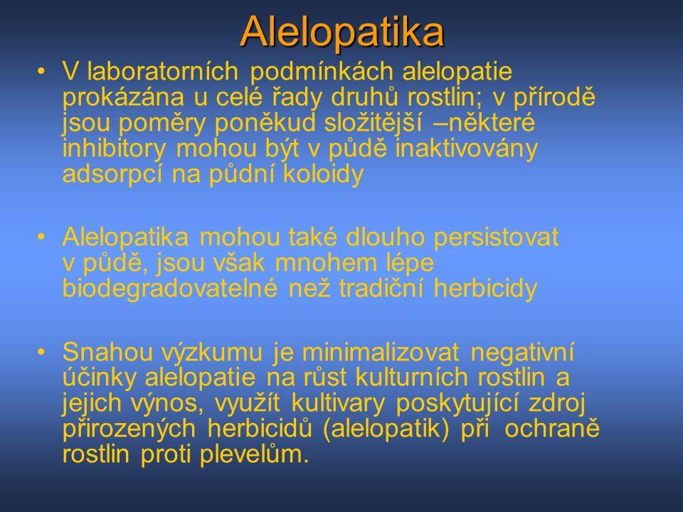 Alelopatika V laboratorních podmínkách alelopatie prokázána u celé řady druhů rostlin; v přírodě jsou poměry poněkud složitější –některé inhibitory mo