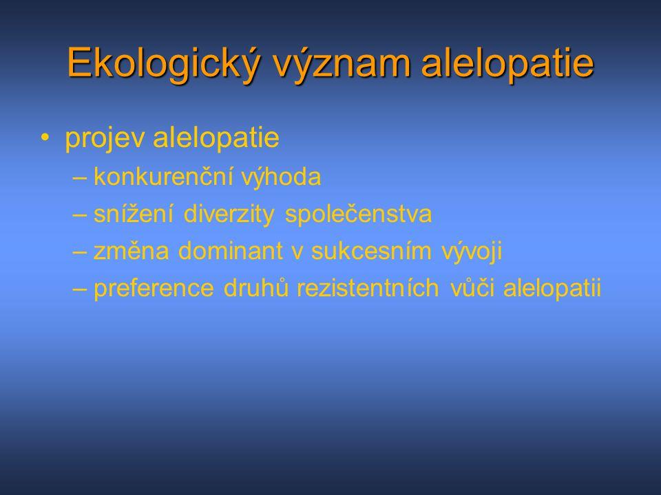 Ekologický význam alelopatie projev alelopatie –konkurenční výhoda –snížení diverzity společenstva –změna dominant v sukcesním vývoji –preference druh