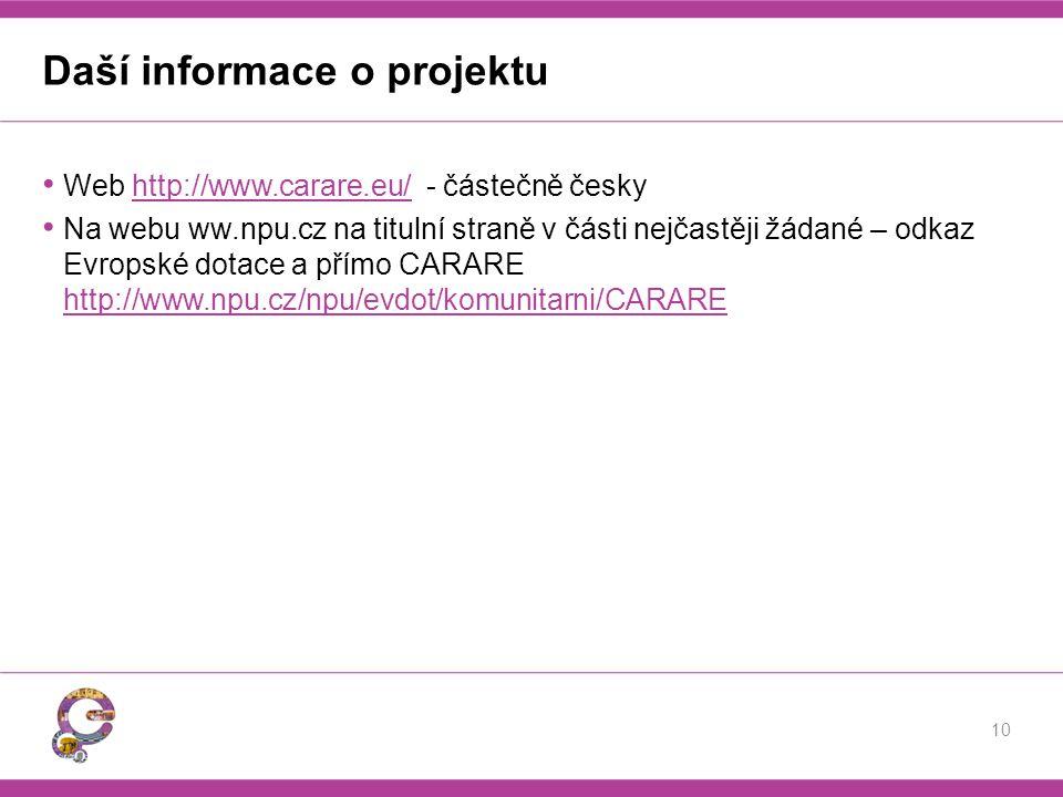 Daší informace o projektu Web http://www.carare.eu/ - částečně českyhttp://www.carare.eu/ Na webu ww.npu.cz na titulní straně v části nejčastěji žádan