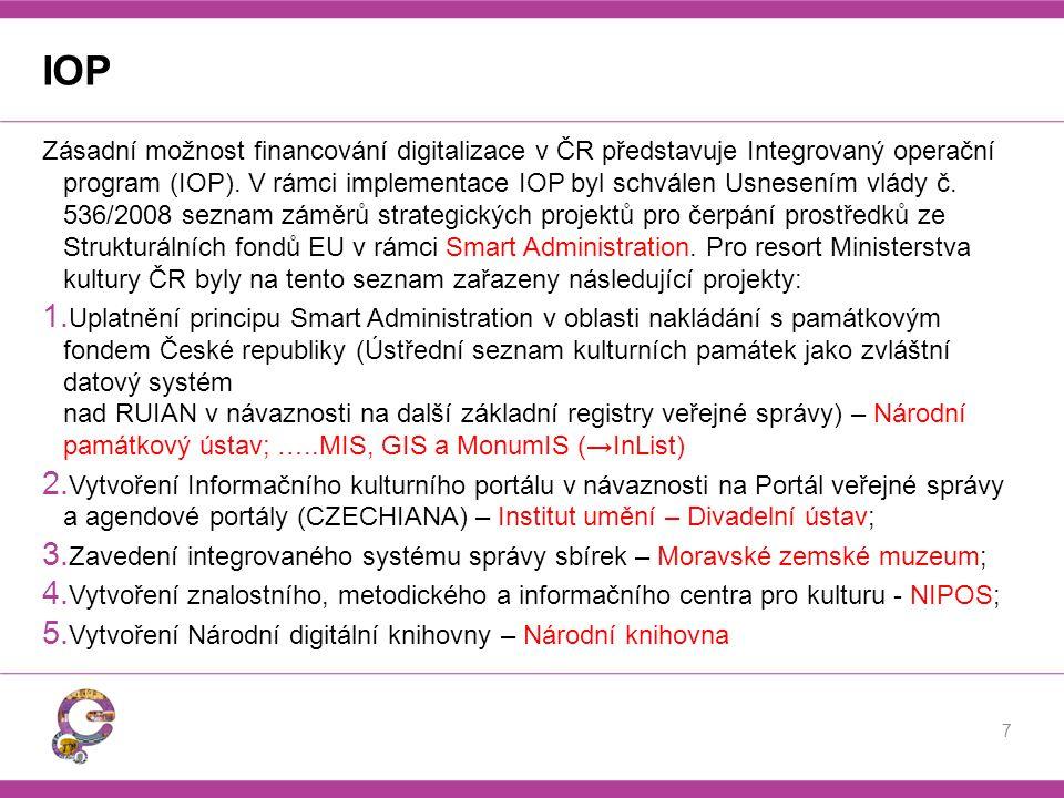 IOP Zásadní možnost financování digitalizace v ČR představuje Integrovaný operační program (IOP). V rámci implementace IOP byl schválen Usnesením vlád