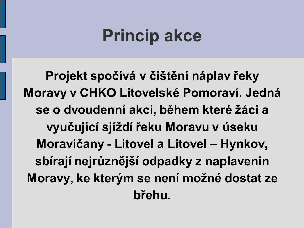 Princip akce Projekt spočívá v čištění náplav řeky Moravy v CHKO Litovelské Pomoraví. Jedná se o dvoudenní akci, během které žáci a vyučující sjíždí ř