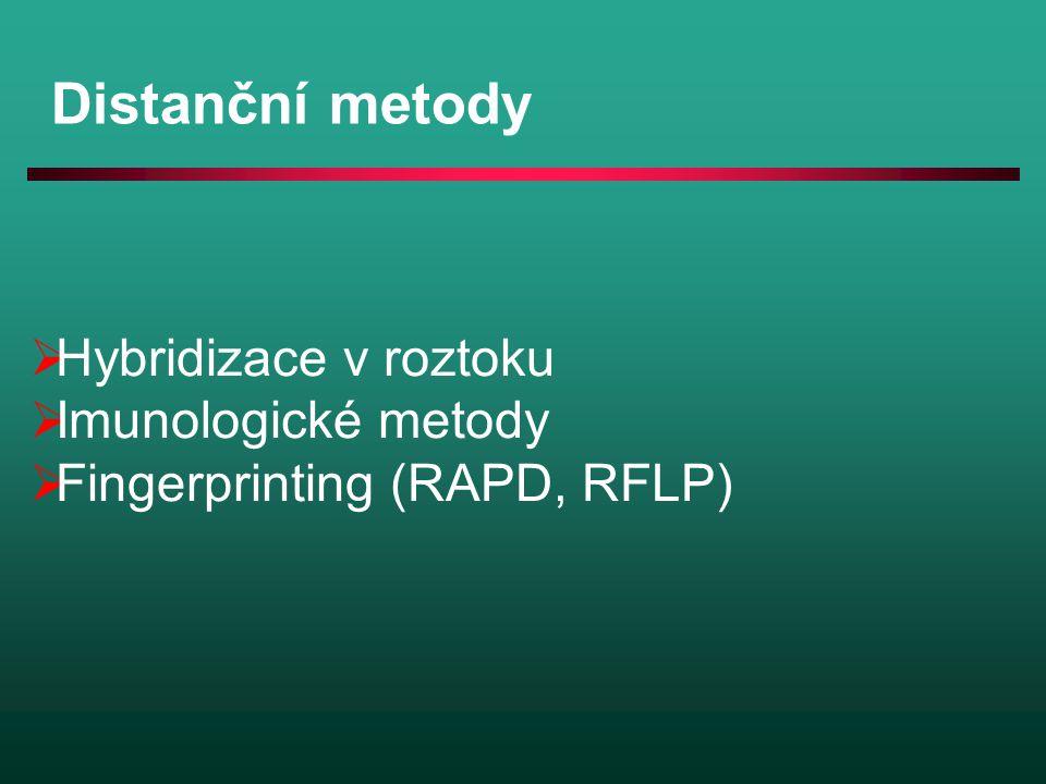 Distanční metody  Hybridizace v roztoku  Imunologické metody  Fingerprinting (RAPD, RFLP)