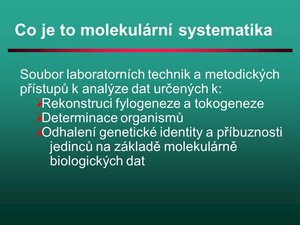 Co je to molekulární systematika Soubor laboratorních technik a metodických přístupů k analýze dat určených k:  Rekonstruci fylogeneze a tokogeneze 