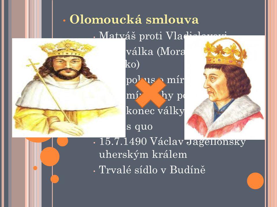 Olomoucká smlouva Matyáš proti Vladislavovi 1471 válka (Morava a Slezsko) 1472 pokus o mír (neúspěch) 1474 mír (záhy porušován) 1478 konec války Statu