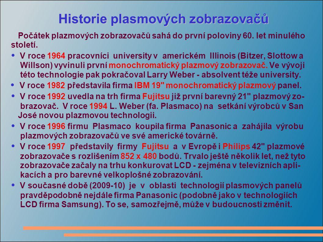 Historie plasmových zobrazovačů Počátek plazmových zobrazovačů sahá do první poloviny 60.