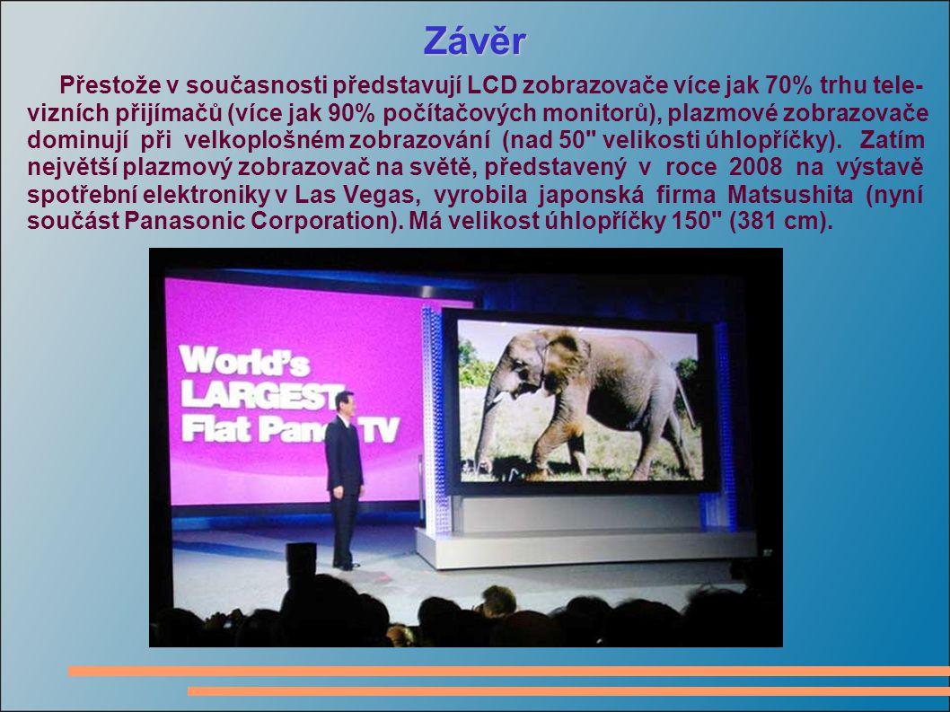 Závěr Přestože v současnosti představují LCD zobrazovače více jak 70% trhu tele- vizních přijímačů (více jak 90% počítačových monitorů), plazmové zobrazovače dominují při velkoplošném zobrazování (nad 50 velikosti úhlopříčky).