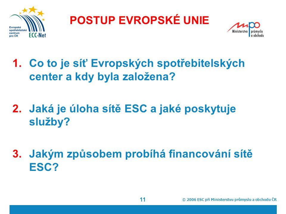 © 2006 ESC při Ministerstvu průmyslu a obchodu ČR 11 POSTUP EVROPSKÉ UNIE 1.Co to je síť Evropských spotřebitelských center a kdy byla založena.