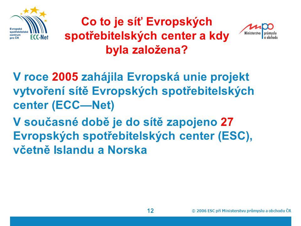 © 2006 ESC při Ministerstvu průmyslu a obchodu ČR 12 Co to je síť Evropských spotřebitelských center a kdy byla založena.
