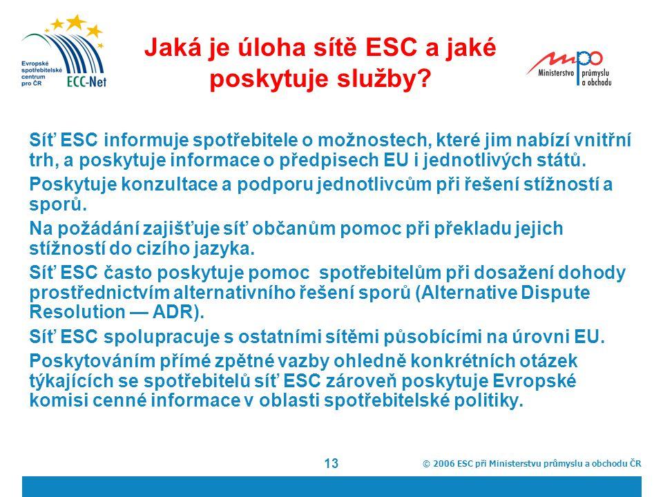 © 2006 ESC při Ministerstvu průmyslu a obchodu ČR 13 Jaká je úloha sítě ESC a jaké poskytuje služby.